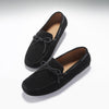 Laced Driving Loafers, Black Suede, Hugs & Co. Front