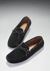 Laced Driving Loafers, Black Suede, Hugs & Co. Portrait