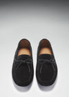 Laced Driving Loafers, Black Suede, Hugs & Co. Front 2