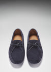 Laced Driving Loafers Navy Suede Front