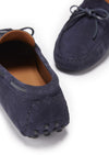 Laced Driving Loafers Navy Suede Front and Back