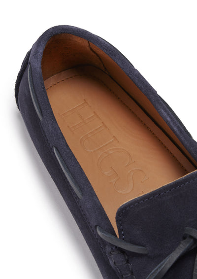 Insole, Laced Driving Loafers Navy Suede