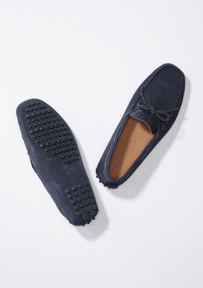 Laced Driving Loafers Navy Suede From Above