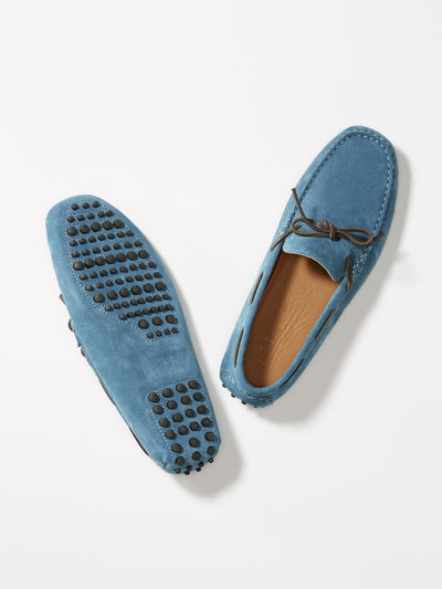 Laced Driving Loafers, petrol blue suede