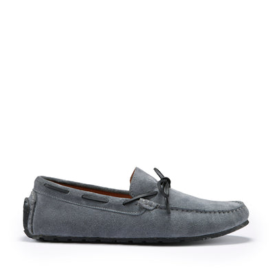 Tyre Sole Laced Driving Loafers, slate grey suede
