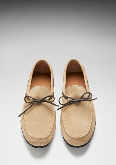 Tyre Sole Laced Driving Loafers, taupe suede