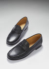 Black Leather, Penny Loafers, Leather Sole Three Quarter