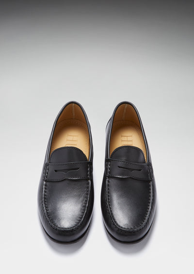 Black Leather, Penny Loafers, Leather Sole Front