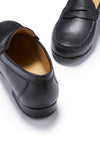 Black Leather, Penny Loafers, Leather Sole, Front and Back