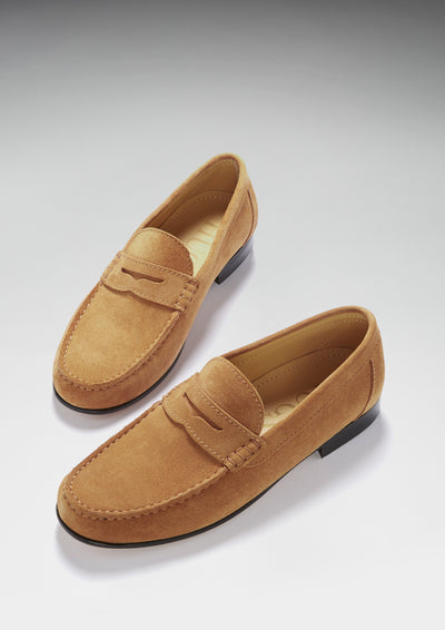 Tobacco Suede, Penny Loafers, Leather Sole Three Quarter