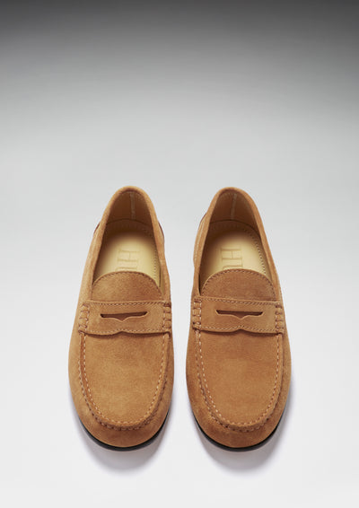 Tobacco Suede, Penny Loafers, Leather Sole Front