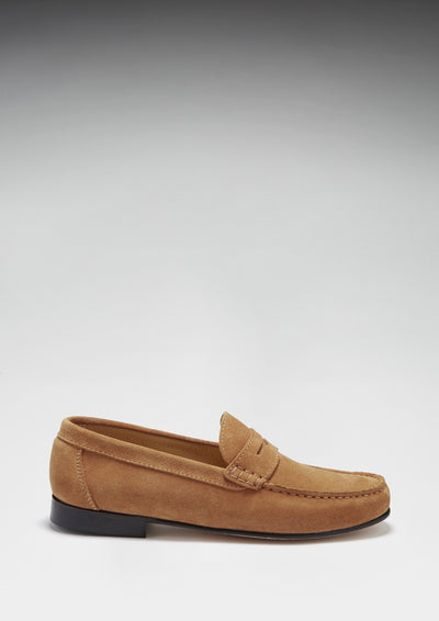 Men's Penny Loafers, tobacco suede