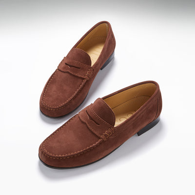 Mahogany Brown Suede, Penny Loafers, Leather Sole