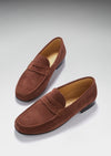 Mahogany Brown Suede, Penny Loafers, Leather Sole Three Quarter