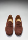Mahogany Brown Suede, Penny Loafers, Leather Sole Front