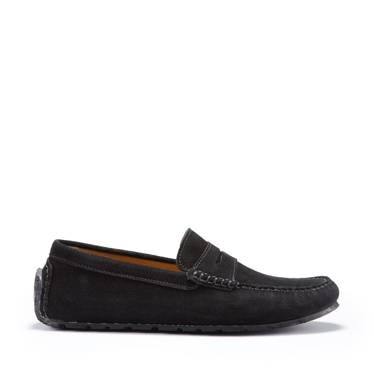 Tyre Sole Penny Driving Loafers, black suede