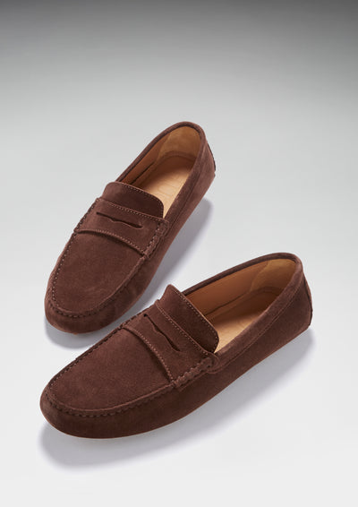 Penny Driving Loafers, brown suede