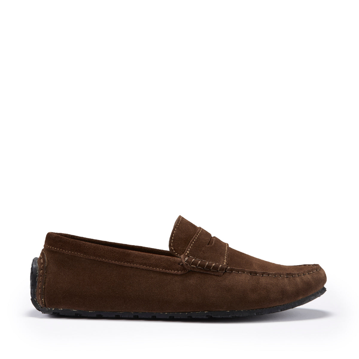 Tyre Sole Penny Driving Loafers, brown suede