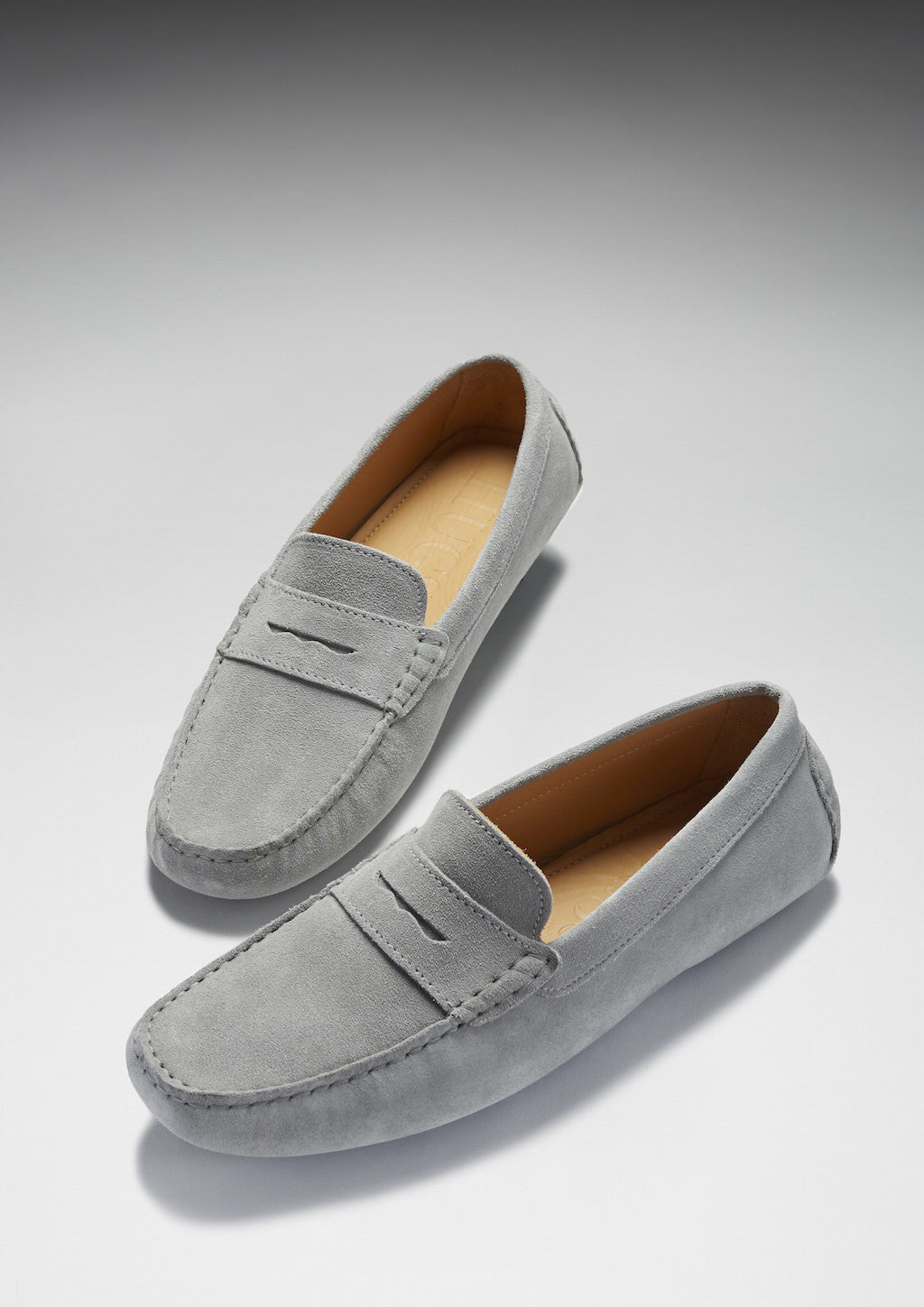 Classic Penny Loafers, dove grey suede - Hugs & Co.