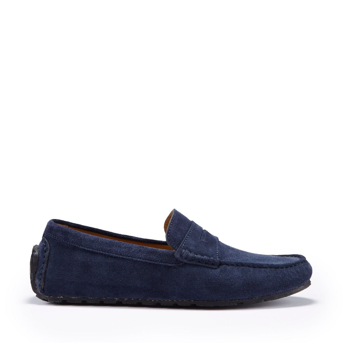 Tyre Sole Penny Driving Loafers, navy blue suede