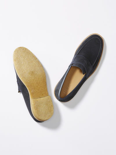Blue Suede Crepe Loafer From Above