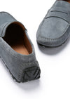 Tyre Sole Penny Driving Loafers, slate grey suede