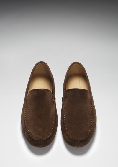 Driving Loafers Brown Suede Front