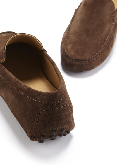 Driving Loafers Brown Suede Front and Back