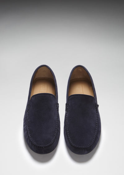 Driving Loafers Navy Suede Front