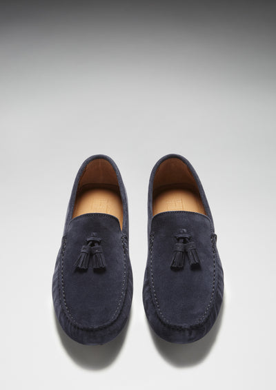 Tasselled Driving Loafers, navy blue suede