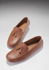 Tasselled Driving Loafers, tan grain leather