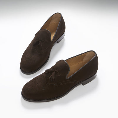 Brogue Loafers, Brown Suede, Goodyear Welted