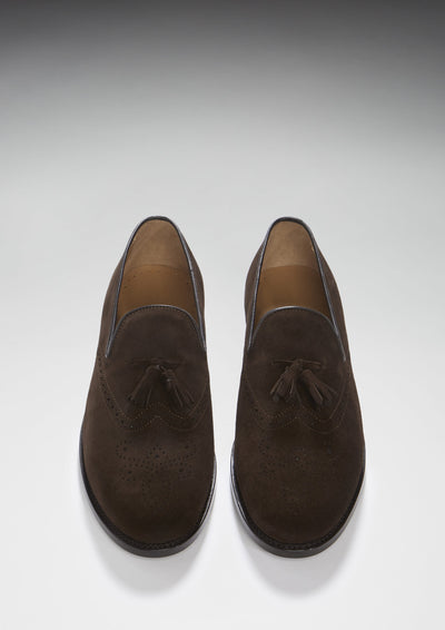 Brogue Loafers, Brown Suede, Goodyear Welted, Front