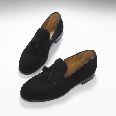 Black Suede Tasselled Brogues, Welted Leather Sole