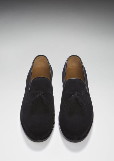 Black Suede Brogue Loafer Front On