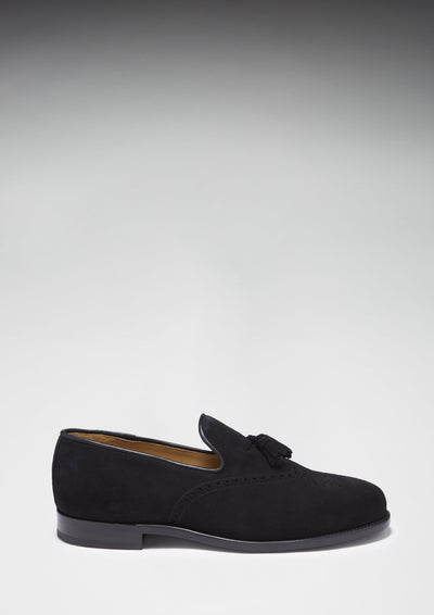 Black Suede Brogue Loafer Side On With Shadow