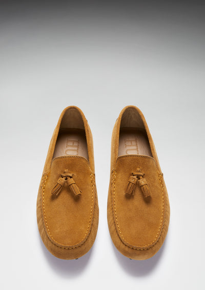 Tasselled Driving Loafers, tobacco suede