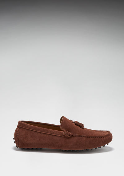 Tasselled Driving Loafers, mahogany brown suede