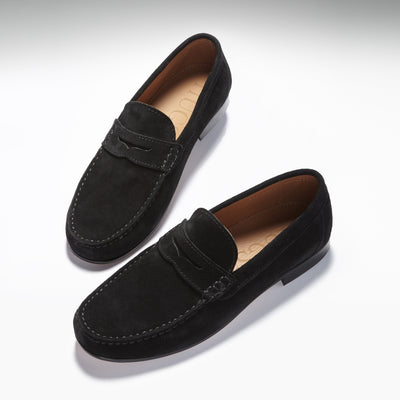 Black Suede, Penny Loafers, Leather Sole Three Quarter