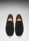Men's Penny Loafers, black suede