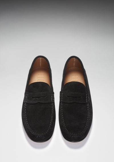 Black Suede, Penny Loafers, Leather Sole Front