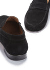 Black Suede, Penny Loafers, Leather Sole Front and Back