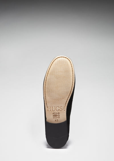 Leather Sole Black Suede, Penny Loafers