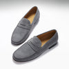 Slate Grey Suede, Penny Loafers, Leather Sole Three Quarter