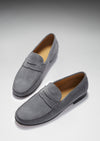 Men's Penny Loafers, slate grey suede