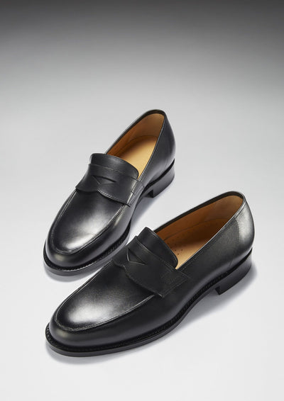 Black Leather Penny Loafer Welted