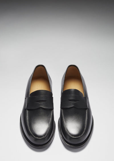 Black Leather Goodyear Welted Loafer Front On