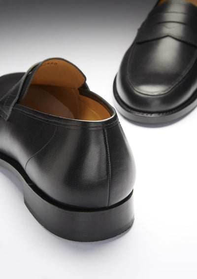 Black Leather Goodyear Welted Loafer Front and Back