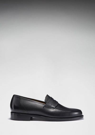Black Leather Goodyear Welted Loafer Side On with Shadow