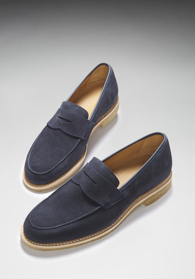 Blue Suede Crepe Loafer Three Quarter With Shadow